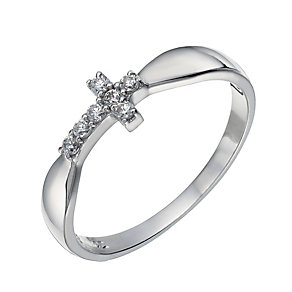 Sterling Silver Cubic Zirconia Sideways Cross Ring Size N - Product number 1782622