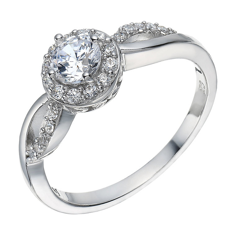 Sterling Silver Cubic Zirconia Solitaire Halo Ring Size P - Product number 1782665
