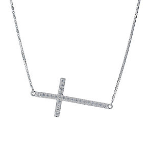 Sterling Silver Cubic Zirconia Sideways Cross Necklace - Product number 1782673