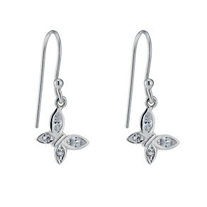 Sterling Silver Cubic Zirconia Butterfly Drop Earrings - Product number 1782819
