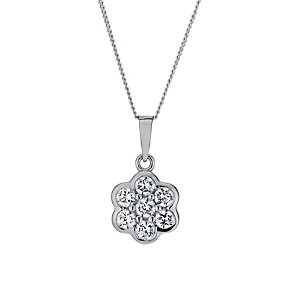 Sterling Silver Cubic Zirconia Flower Pendant - Product number 1782835