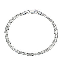 Sterling Silver Triple Beaded Chain Bracelet - Product number 1783009