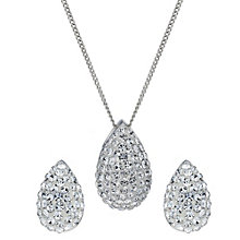 Sterling Silver Glitter Crystal Pear Pendant & Stud Earrings - Product number 1783041