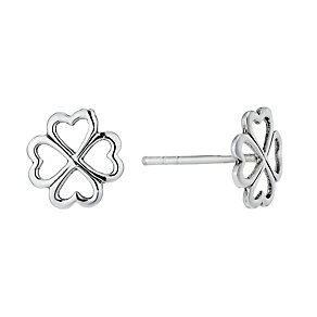 Sterling Silver Four Leaf Clover Stud Earrings - Product number 1783068