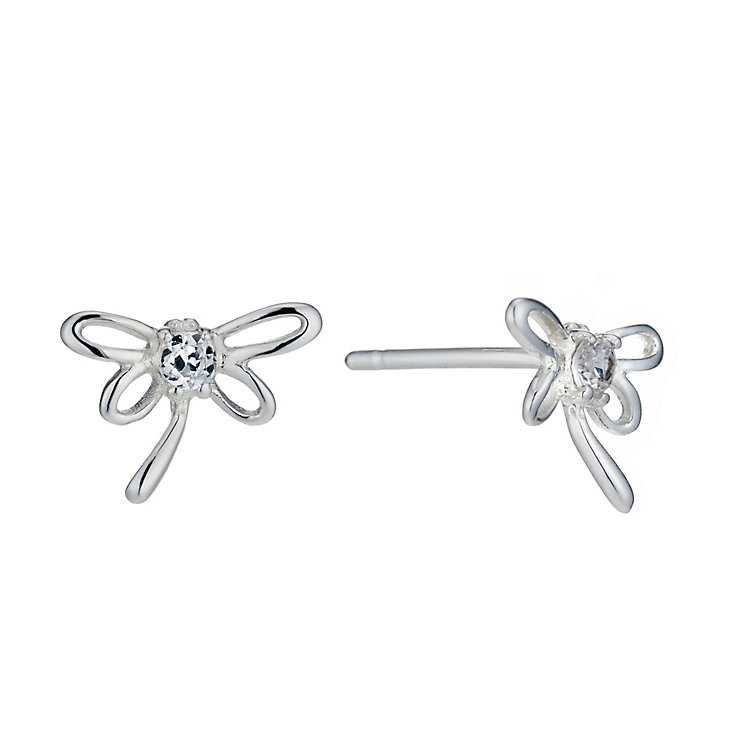 Sterling Silver Cubic Zirconia Dragonfly Stud Earrings - Product number 1783076
