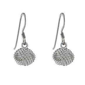 Sterling Silver Fancy Knot Drop Earrings - Product number 1783114