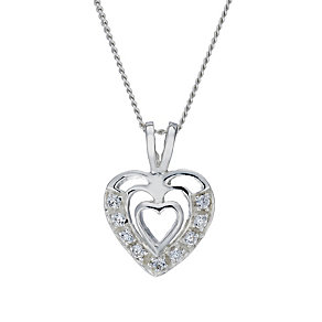 Sterling Silver Cubic Zirconia Triple Heart Pendant - Product number 1783130