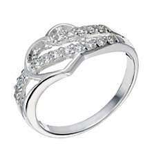 Sterling Silver Cubic Zirconia Cut Out Heart Ring Size L - Product number 1783203