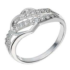 Sterling Silver Cubic Zirconia Cut Out Heart Ring Size P - Product number 1783238