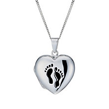 Sterling Silver Footprint Heart Locket - Product number 1783246