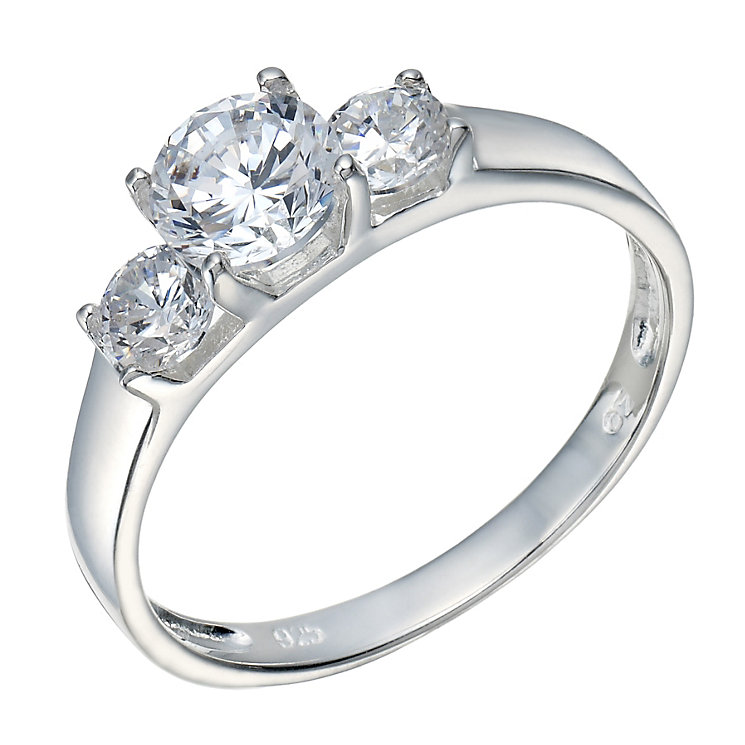 Sterling Silver Cubic Zirconia 3 Stone Ring Size L - Product number 1783254