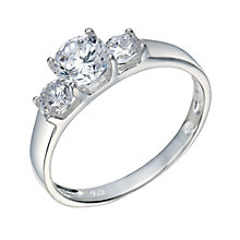 Sterling Silver Cubic Zirconia 3 Stone Ring Size P - Product number 1783270