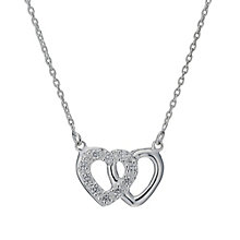 Sterling Silver Cubic Zirconia Set Two Hearts Pendant - Product number 1783335