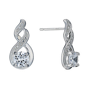 Sterling Silver Cubic Zirconia Fancy Stud Earrings - Product number 1783351