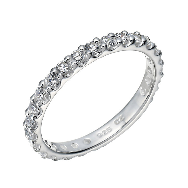 Sterling Silver Cubic Zirconia Claw Set Ring Size P - Product number 1783394
