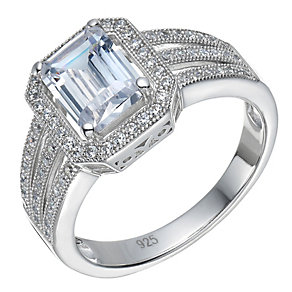 Sterling Silver Large Cubic Zirconia Emerald Cut Ring Size L - Product number 1783432