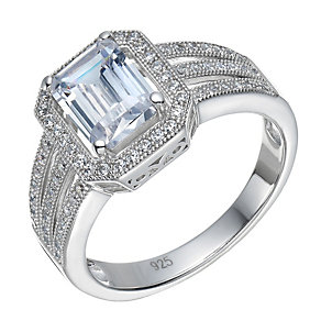 Sterling Silver Large Cubic Zirconia Emerald Cut Ring Size N - Product number 1783440