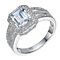 Sterling Silver Large Cubic Zirconia Emerald Cut Ring Size P - Product number 1783459