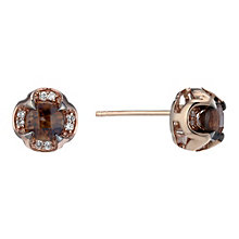 Le Vian 14ct rose gold smokey quartz & diamond stud earrings - Product number 1783602