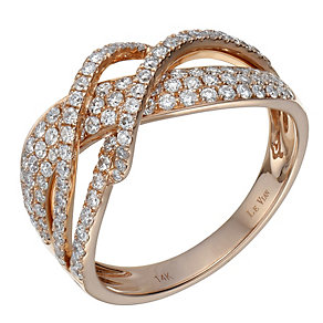 Le Vian 14ct Strawberry Gold diamond set twist ring - Product number 1783696
