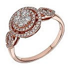 Le Vian 14ct rose gold diamond halo ring - Product number 1783858