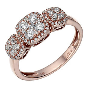 Le Vian 14ct Strawberry Gold® triple diamond cluster ring - Product number 1784013