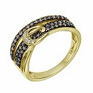 Le Vian 14ct gold chocolate & white diamond buckle ring - Product number 1784161