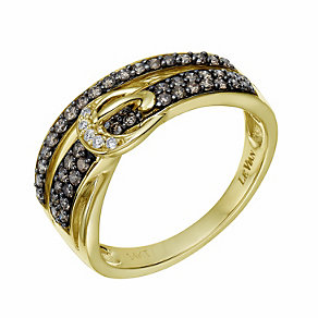 Le Vian 14ct gold Chocolate & Vanilla Diamonds buckle ring - Product number 1784161