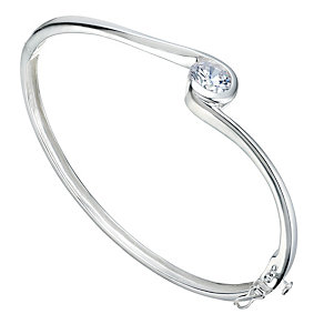 Sterling Silver Cubic Zirconia Solitaire Wave Bangle - Product number 1785532