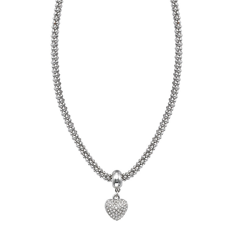 Buckley Rhodium-Plated Stone Set Heart Necklace - Product number 1785575