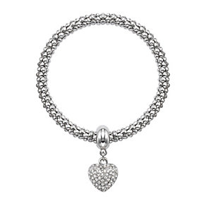Buckley Rhodium-Plated Stone Set Heart Bracelet - Product number 1785583
