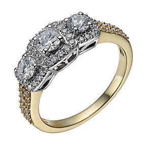 18ct gold 1 carat diamond 3 stone cushion set ring - Product number 1785591