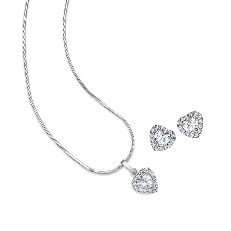 Mikey Cubic Zirconia Heart Pendant & Stud Earrings Set - Product number 1828541