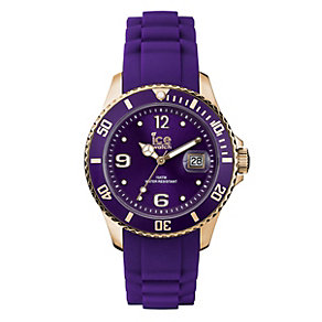 Ice-Watch Ladies' Rose Gold Purple Silicone Strap Watch - Product number 1828681