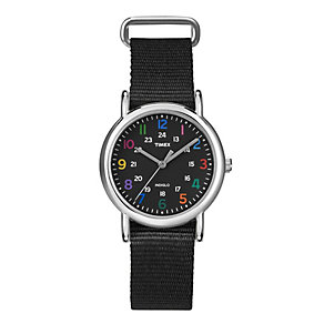 Timex Weekender Black Nylon Slip Through Strap Watch - Product number 1838741