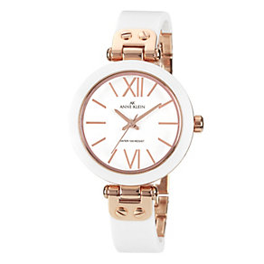 Anne Klein Rose Gold-Plated White Ceramic Strap Watch - Product number 1838822