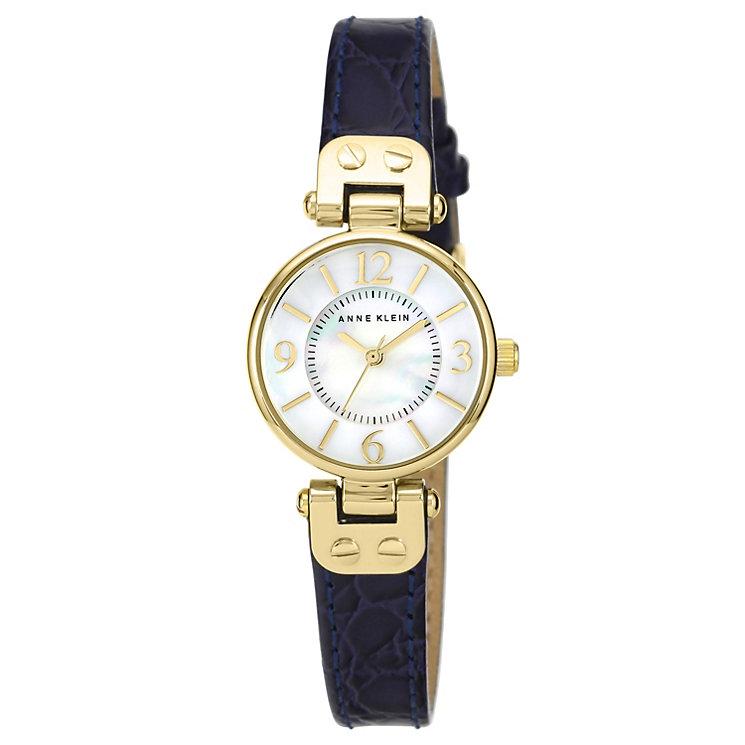 Anne klein ladies 39 white dial navy leather strap watch h samuel for Anne klein leather strap