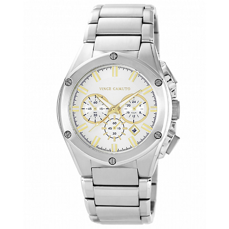Vince Camuto Men's White Dial Stainless Steel Bracelet Watch - Product number 1838865