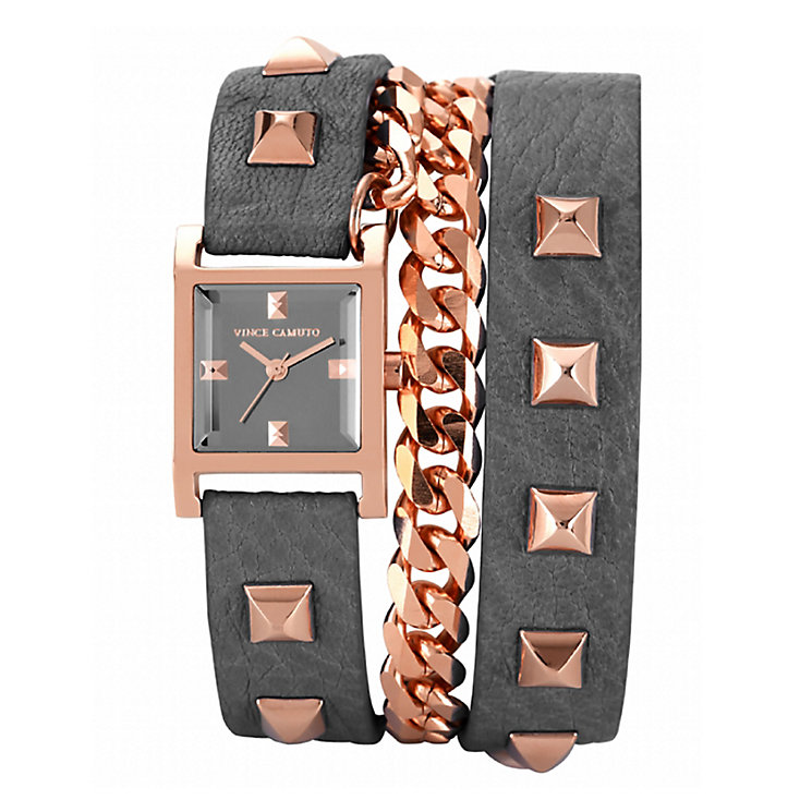 Vince Camuto Ladies' Grey Leather Wraparound Strap Watch - Product number 1838881