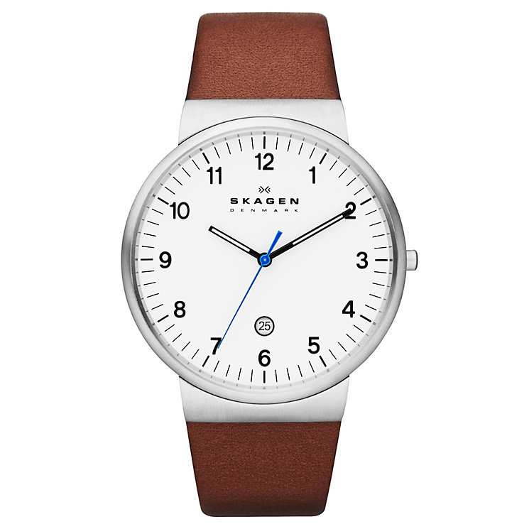 Skagen Men's White Dial Brown Leather Strap Watch - Product number 1845195