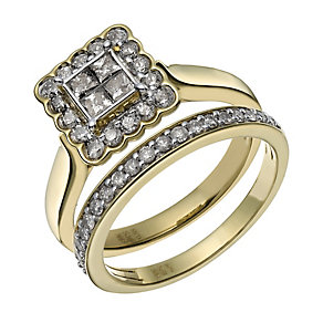 Perfect Fit 9ct Gold 3/4 carat diamond bridal ring set - Product number 1845209