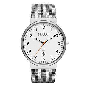 Skagen Men's White Dial Stainless Steel Mesh Bracelet Watch - Product number 1846590