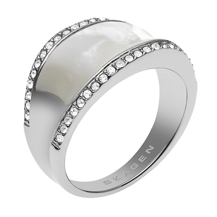 Skagen Klassik Silver Tone Crystal Set Ring - Product number 1863444
