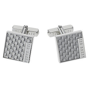 Ted Baker Didcot carbon fibre silver tone square cufflinks - Product number 1868292