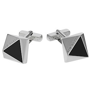 Ted Baker Crinan rectangular silver tone & black cufflinks - Product number 1868454
