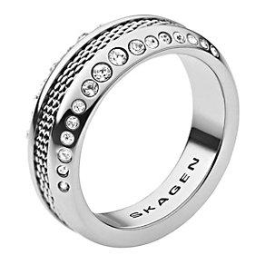 Skagen Klassik Stainless Steel Crystal Set Mesh Ring - Product number 1929704
