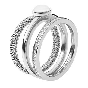 Skagen Mesh, Stone & Crystal Three Ring Set - Product number 1929755