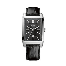 Hugo Boss men's black croc effect leather strap watch - Product number 1929879