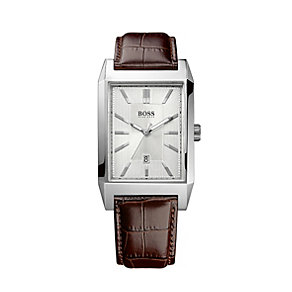 Hugo Boss men's brown croc effect leather strap watch - Product number 1929887