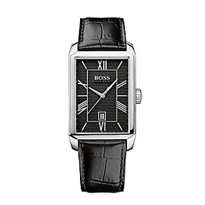 Hugo Boss men's rectangular dial black leather strap watch - Product number 1929909